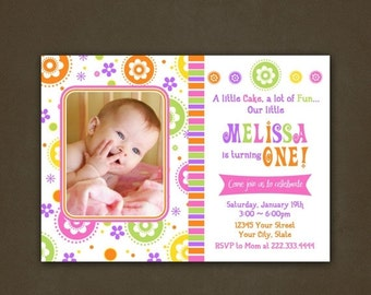 SALE Spring Flowers Bright Colors Birthday Invitation, Printable File