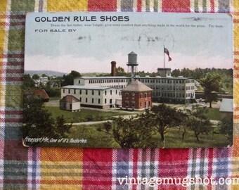 Antique Postcard 1909 Golden Rule Shoes Freeport Maine Factory