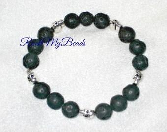 Lava Rock Skull Bracelet,bracelet,jewelry,mens bracelet,beaded bracelet,lava bracelet,skull bracelet,black bracelet,stretchy bracelet