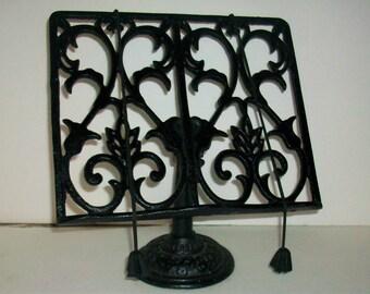 Black Ornate Cast Iron Kitchen Book Holder