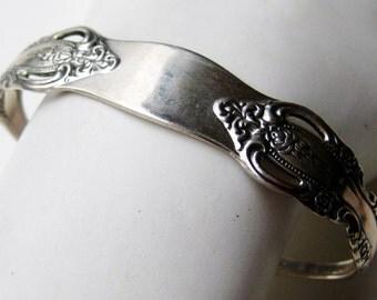 Vintage Oneida Sterling Silver Michelangelo Flatware Pattern Cuff Bracelet