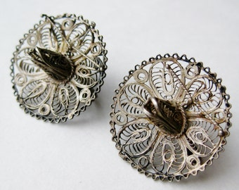 Vintage 40s Taxco Mexican Sterling Silver Sombrero Screwback Earrings