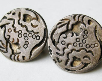 Vintage 40s Taxco Mexican 980 Sterling Silver Rafael Dominguez Screwback Earrings