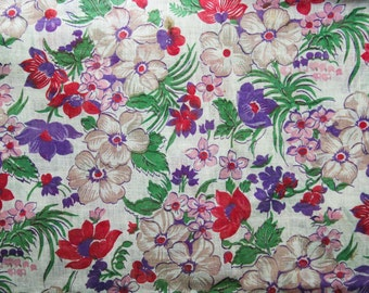 Sheer 1940s Fabric - 2.66 Yards Long x 35 3/4 Inches Wide - Purple & Red Floral Print Cotton Organdy - Meadow Flowers - 30s 40s - 44009