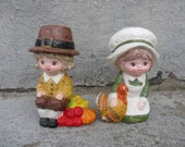 ceramic pilgrim children rb made in japan mid century thanksgiving collectible fall decor
