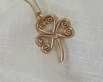 Hand Crafted Ancient Bronze Shamrock Necklace Pendant