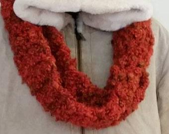 Maroon Double Crocheted Infinity Scarf