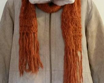Light Maroon Crocheted Scarf