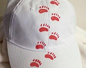 Baseball Cap w/Handpainted Bear Tracks - White - Red - Hat - Adjustable - Light - Cool - Clothing - Material