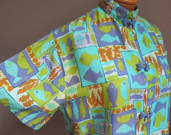 1960s Asian Style Rayon Blouse