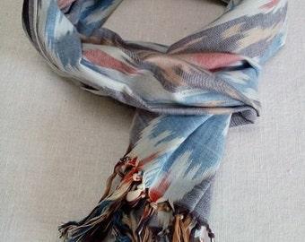 Uzbek cotton Ikat scarf