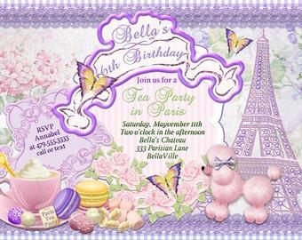 Purple Pink Poodle Paris Tea Party, Paris Poodle Tea Party Invitations, Paris Poodle Party