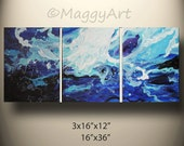 in wave - ocean blue, textured, fluid,original abstract painting, 36x16inch  on stretched canvases, ready to hang