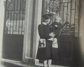 1940's French Photo - Woman Stood Holding a Small Child