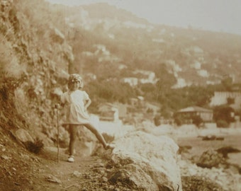 1930's Summer Photo - Child Posing for the Camera with a Foot on a Rock