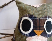 Artie the Owl - 8 Inch Plush Owl Made From Salvaged and Re-Purposed Fabric