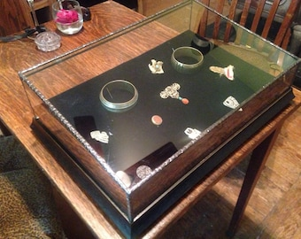 Jewelry display case  1/8 glass, open back , w/fabric covered tray