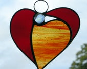 Abstract Stained Glass ornament (Angel Heart) in autumn colours