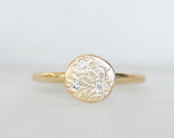 Diamond Disc Wedding Ring, Gold and diamond Wildflower Ring - Eco-Friendly Recycled Gold
