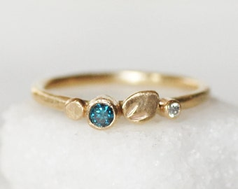 Blue Diamond Ring - Botanical Kaleidoscope Ring - Choose 14k OR 18k Gold