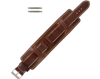Leather Wide Watch Band Stitched
