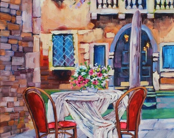 My Thoughts of Venice, Original Oil Painting of Venice by Rebecca Beal, Impressionism art on Canvas, Romantic Venice