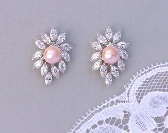 Pink Stud Earrings, Bridal Earrings, Blush Pearl Earrings, Bridal Jewelry, Bridemaids Earrings, NAN P