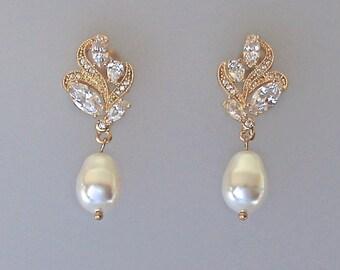 Gold Crystal Earrings, Crystal Bridal Earrings, Bridal Stud Earrings, Pearl Drop Earrings, Bridal Jewelry, Pearl  Wedding Earrings, FLEUR G