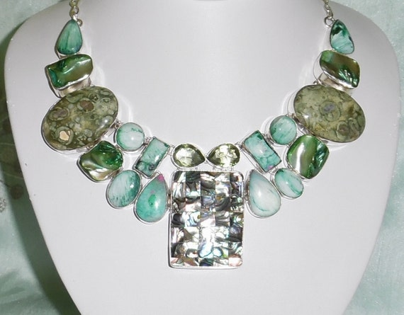 """CLEARANCE, Abalone Shell, green amethyst, jasper gemstones, SOLID sterling silver Necklace, 22"""" Adjustable"""