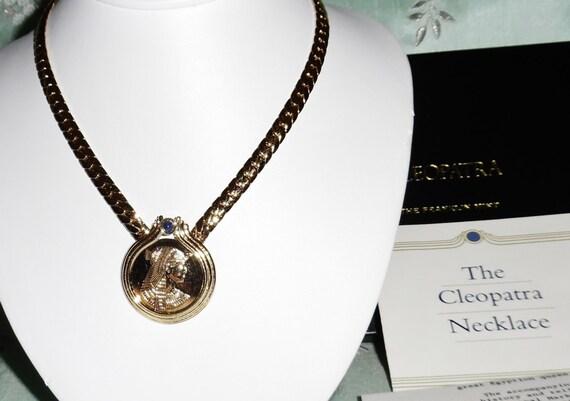 "VINTAGE Franklin Mint Cleopatra 22kt gold plated on Sterling Silver 17"" Necklace COA & BOX"