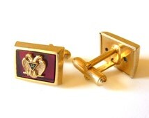 Vintage Anson Cuff Links - Masonic 32nd Degree Mason- Retro Red Cufflinks Double Eagle Enamel- Fraternal Jewelry