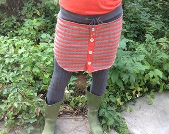Upcycled Stripe Button-down Sweater Skirt
