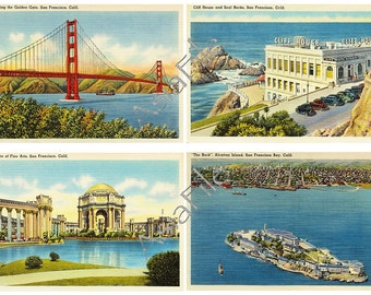 "Vintage San Francisco Linen Postcards Art Cards 5"" X 3.5"" for Scrapbooking Stationery  ATC Greeting Cards Paper Crafts 8 Cards AC 2"