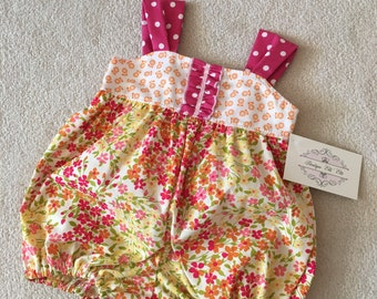 SALE Ready to Ship Baby Bubble Romper Sunsuit Size 3-6M Pink and Orange Small Floral