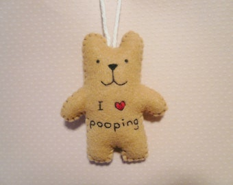 I love pooping funny felt ornament, Christmas decoration, unique gifts, gifts for men, poop