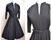 1940s 50s Black faille day or evening dress / 40s dolman sleeve dress - M