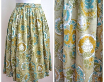 1950s Novelty Print coin sage green cotton pleated skirt / Ancient printed teal ochre white day skirt XS