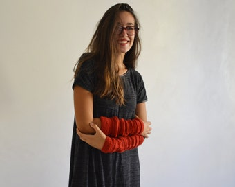 Arm warmers long fingerless gloves handknit with red wool for woman. Valentine day gifts Girlfriends gift