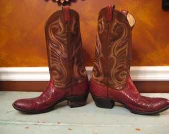 Larry Mahan Brown Red Lizard Vintage Cowboy Boots 9B