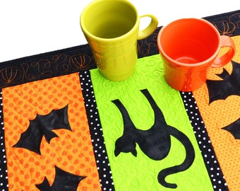 Halloween Table Runner-Black Cats and Bats-Halloween Table Decor-Handmade Quilted
