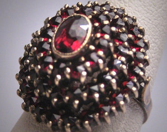 Antique Victorian Bohemian Garnet Ring Vintage Wedding c.1900