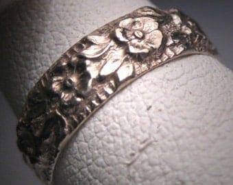 Antique Art Deco Wedding Band Ring Vintage Floral 20s Eternity