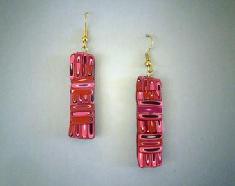 Retro Earrings Polymer Clay in Red and Pink