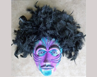 Mardi Gras Mask in Purple Aqua Blue Pearl and Black Polymer Clay with Feathers