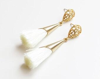 Tassel Earrings | Gold Tassel Earrings | Fringe Earrings | Ivory Tassel Earrings | Boho Earrings | Dangle Earrings