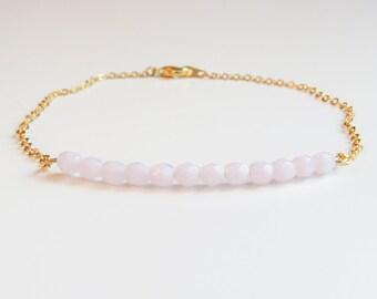 Pink Beaded Bracelet | Pink Bracelet | Pink & Gold Bracelet | October Birthstone Bracelet | Bridesmaids Bracelet