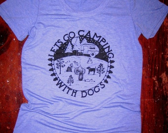 Dogs go Camping Womens Bight Blue Tri Blend T Shirt