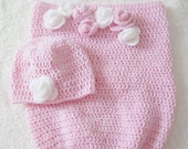 Baby cocoon , christmas gift , crochet baby cocoon , pink cocoon , baby cocoon and hat set , baby photo prop , crochet baby hat