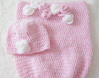 Baby cocoon , christmas gift , crochet baby cocoon , pink cocoon , baby cocoon and hat set , baby photo prop , crochet baby hat