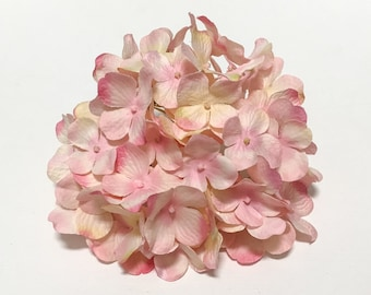 Silk Flowers - One Hydrangea Head in Shades of Pink and Yellow - Top Quality - Artificial Flowers